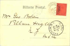 Gibraltar 1d KEVII 1905 Gibraltar, 26 PPC to Pelham Heights, N.Y. via New Yor...