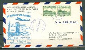 NEWFOUNDLAND to PRAGUE JUNE 1946 1st PAN AM CLIPPER AIRMAIL FLIGHT COVER  #263