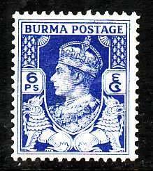 Burma-Sc#20- id7-unused hinged 6p ultramarine-KGVI-1938-