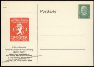 Germany 1930 Berlin IPOSTA Private Ganzsachen Postal Card Cover 68559