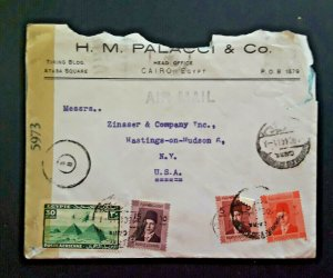 1944 Cairo Egypt To Hastings On Hudson New York Censored Airmail Cover