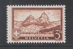 Switzerland Sc 209 MNH. 1931 3f The Mythen on Granite Paper, Almost VF