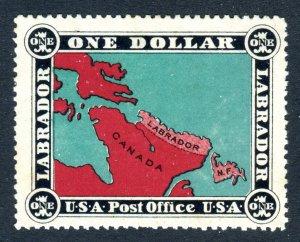 Labrador $1 stamp. USA Post Office, Unused. Mint No Gum.