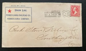 1896 Hartford CT USA Advertising Union Line Railroad Cover To Southington