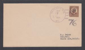 US Sc 684  on 1934 cover, black 76 Fancy Cancel of Seventy-Six, Kentucky