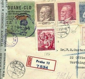Czechoslovakia Cover *TIMBRE POSTE* OVERPRINT Customs Label 1952 Registered BU66
