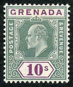 GRENADA SG76 1904-06 10s green and purple wmk MCA Fresh M/M