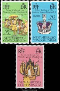 New Hebrides British Scott 214-216 Mint never hinged.