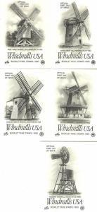 U.S. 1980 WINDMILLS Set of 5 Booklet Micro Stamps (5) ArtCraft/PCS Cachet FDCs