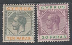 CYPRUS 1921 KGV 10PA AND 30PA WMK MULTI SCRIPT CA