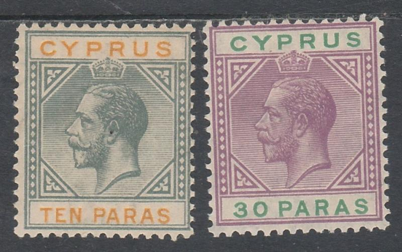 CYPRUS 1921 KGV 10PA AND 30PA WMK MULTI SCRIPT CA