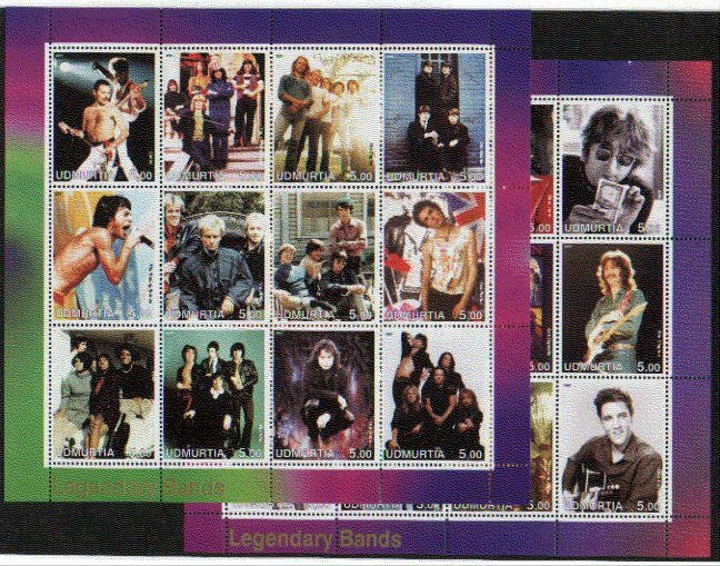 Udmurtia, 2001 Russian Local. 2 Legendary Bands sheets of 12.