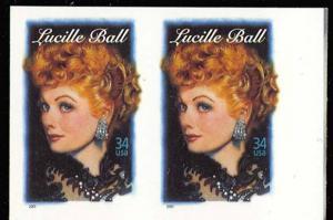 3523a, 34c LUCILLE BALL - IMPERFORATE PAIR - SELDOM OFFERED ERROR - Stuart Katz