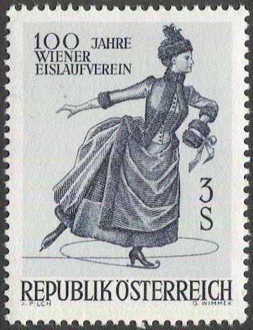 AUSTRIA 1967  Sc 785  MNH 19th C. Woman Ice Skating