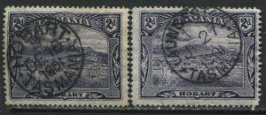 Tasmania 1899 2d's both with SON choice CDS's