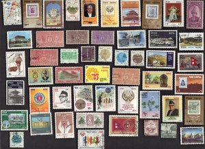50 All Different  NEPAL PICS & COMMS STAMPS
