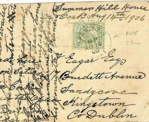GB IRELAND Card *GS&NW TPO / UP NIGHT* Scarce Irish TPO 1906{samwells} AD162
