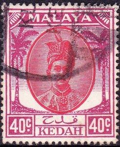 MALAYA KEDAH 1950 40c Red & Purple SG86 Used