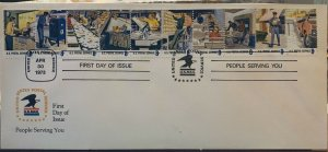 USPS Cachet 1489-1498 Postal People Helping You 10 Stamps on 1 NO CITY FIRST DAY