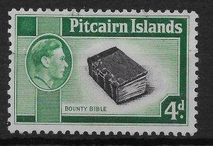 PITCAIRN ISLANDS SG5b 1951 4d BLACK & EMERALD-GREEN USED