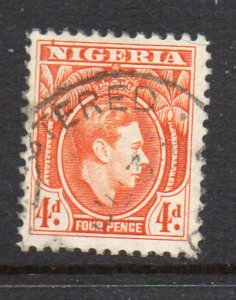 Nigeria Sc 59 1938 4d orange  GVI  stamp used