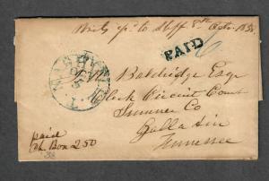 1838 Nashville Tenn Oct 5 Letter Signed By Lindsley Postmaster During Civil War