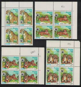 Laos WWF Tiger 4v Corner Blocks of 4 with margins SG#704-707 SC#517-520
