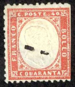 Italy Sc# 20 Used 1862 40c red King Victor Emmanuel II