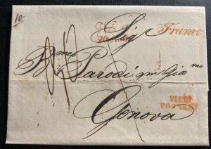 1840 Vienna Austria Stampless Letter Cover To Genova Italy C