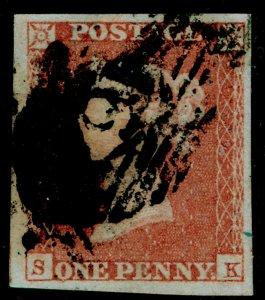 SG9, 1d pale red-brown PLATE 123, USED. Cat £45. 4 MARGINS. SK