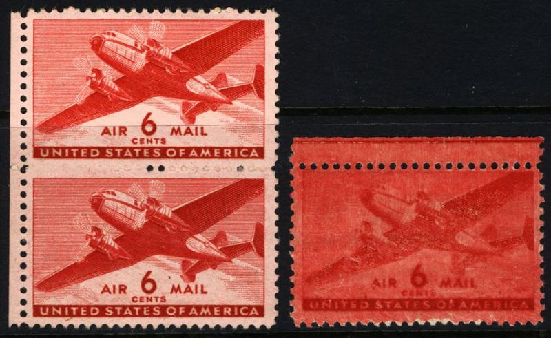 #C26 6c Carmine 1941 Air Post 2 MNH Error Items