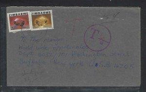 ZIMBABWE COVER (P0611B) GEMSTONE 4C+5C TO USA TAXED 6C