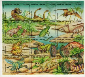 Sierra Leone MNH S/S 1791 Dinosaurs 12 Stamps