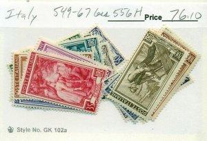 ITALY #549-67, less 556, Mint Hinged, Scott $76.10