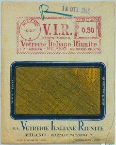 91120 - STORIA POSTALE - Annullo ROSSO MECCANICO 1937 Vetrerie Riunite , Milano