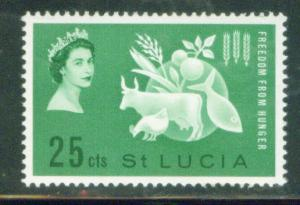 Saint Lucia Scott 179 MH* 1963 Freedom from Hunger stamp