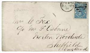 (I.B) Australia Postal : Victoria Cover (Melbourne to Sheffield 1884)