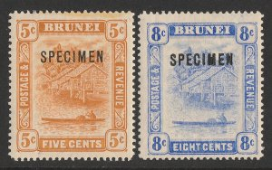 BRUNEI : 1916 View set 5c & 8c new colours, SPECIMEN, wmk mult crown.