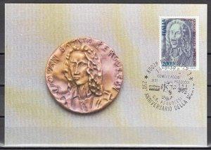 Italy, Scott cat. 1677. Musician Pergolesi issue on a Max. Card. ^