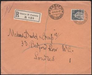 SWITZERLAND 1921 80c on registered cover Geneva to London..................46726