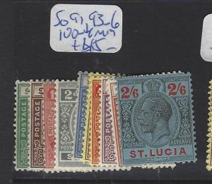 ST LUCIA   (P3006B)  KGV   SG91, 93-96, 100-4   MOG