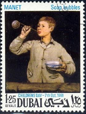 Children's Day, Painting, Soap Bubble, by Manet, Dubai stamp