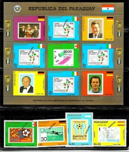 PARAGUAY 1988 FOOTBALL SOCCER WORLD CUP ITALY SPECIMEN MUESTRA SET+MS Mi 4268-72