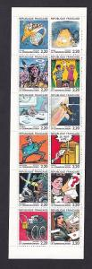 France   #2088-2099a  MNH 1988  booklet  festival winning cartoons