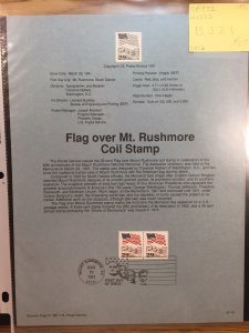 US #SP932 / 2523 Flag over Mt. Rushmore Coil Stamp - Souvenir Sheet / Page