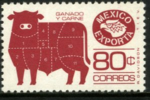 MEXICO EXPORTA 1113a, 80¢. CATTLE MEAT PAPER 1, PERF. 11. MINT, NH. VF.