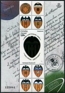 HERRICKSTAMP NEW ISSUES SPAIN Valencia Soccer Club S/S with Silver Foil