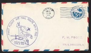 UNITED STATES First Flight Cover 1931 Akron