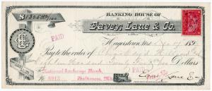 (I.B) US Revenue : Bank Check Duty 2c (Eavey Lane & Co)