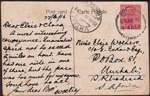 SOUTHERN RHODESIA 1916 postcard ex India - UMTALI arrival cds..............35178